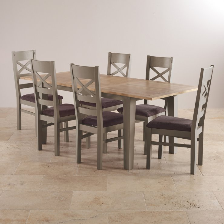 St ives natural oak and grey painted 5ft extending dining table - Natural oak dining table and chairs ...