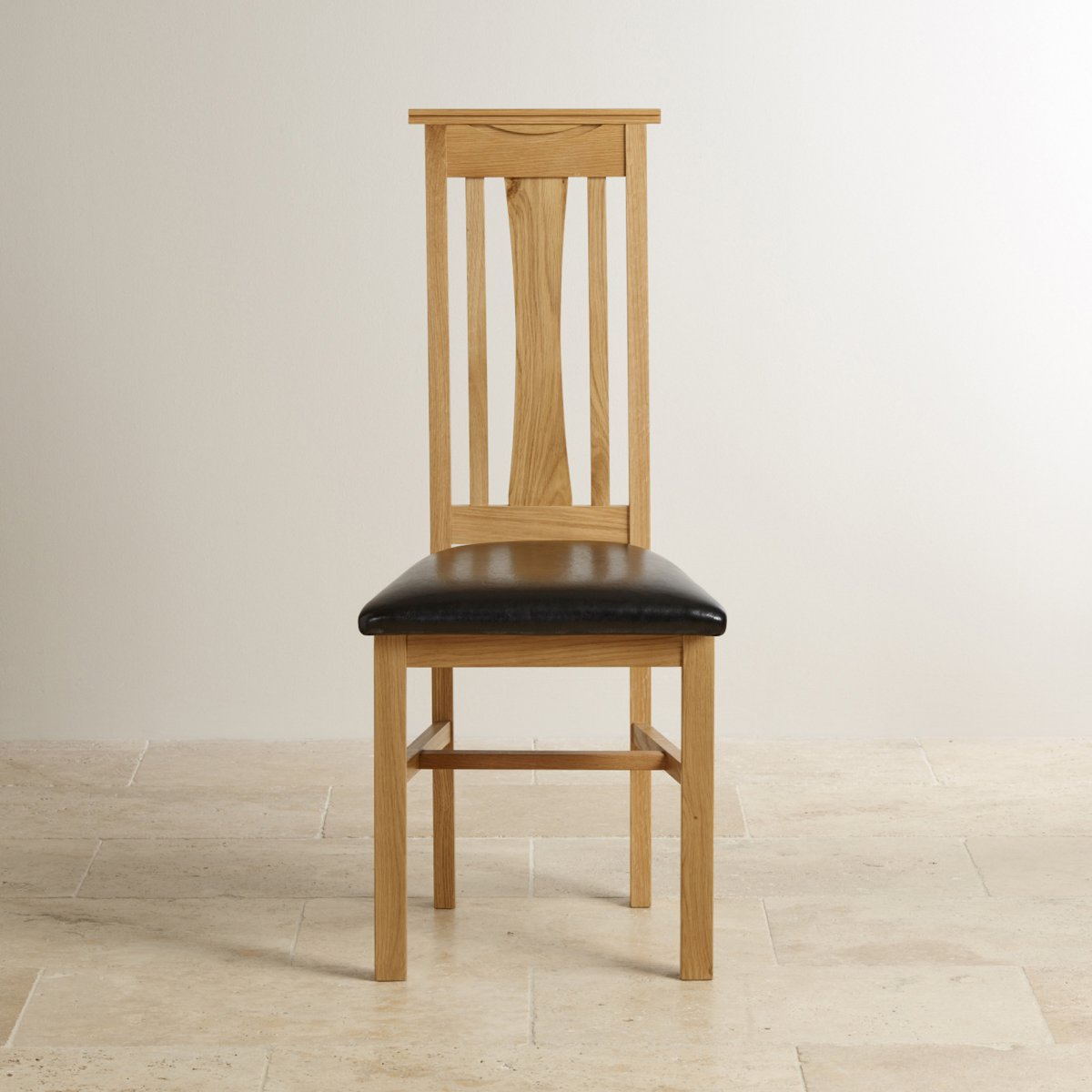 Solid Oak Dining Chair Tokyo Black Leather