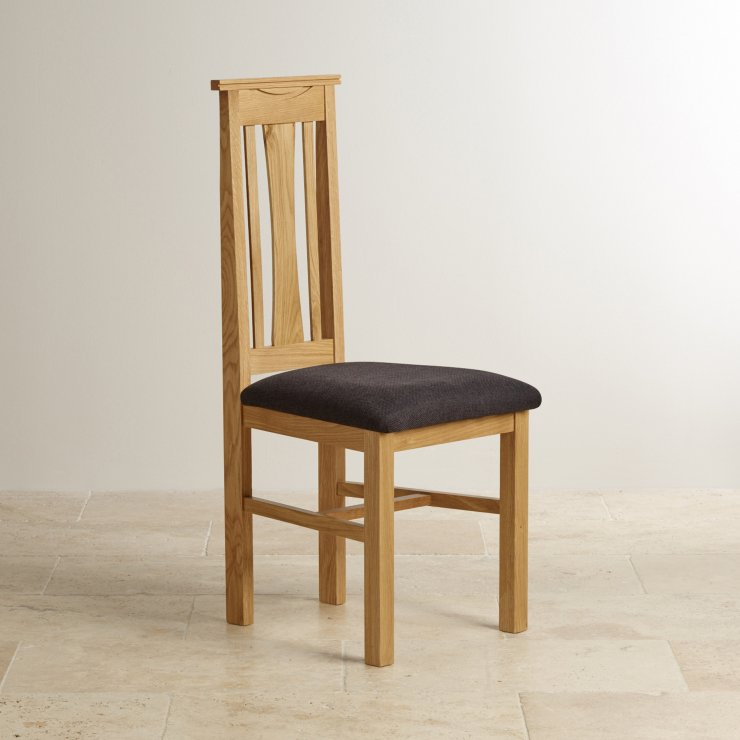 Tokyo Natural Solid Oak and Black Plain Fabric Dining Chair