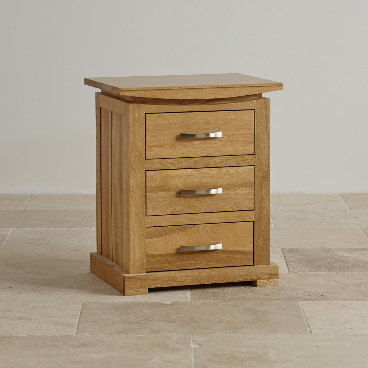 Tokyo 3 drawer bedside table in solid oak oak furniture land for Solid oak furniture