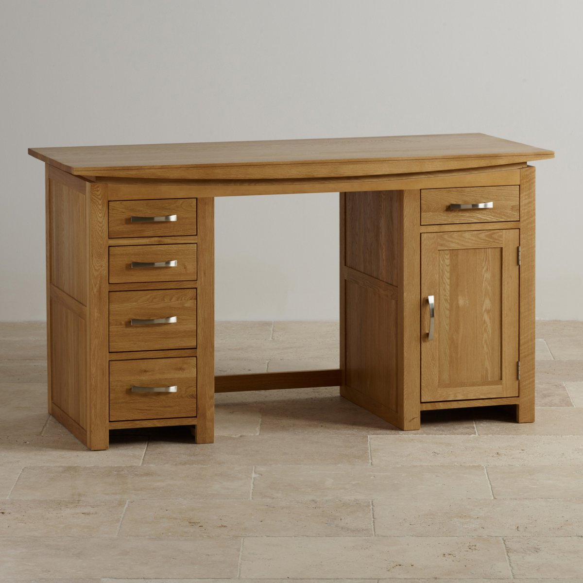 Tokyo natural solid oak computer desk by oak furniture land for Oak furniture land