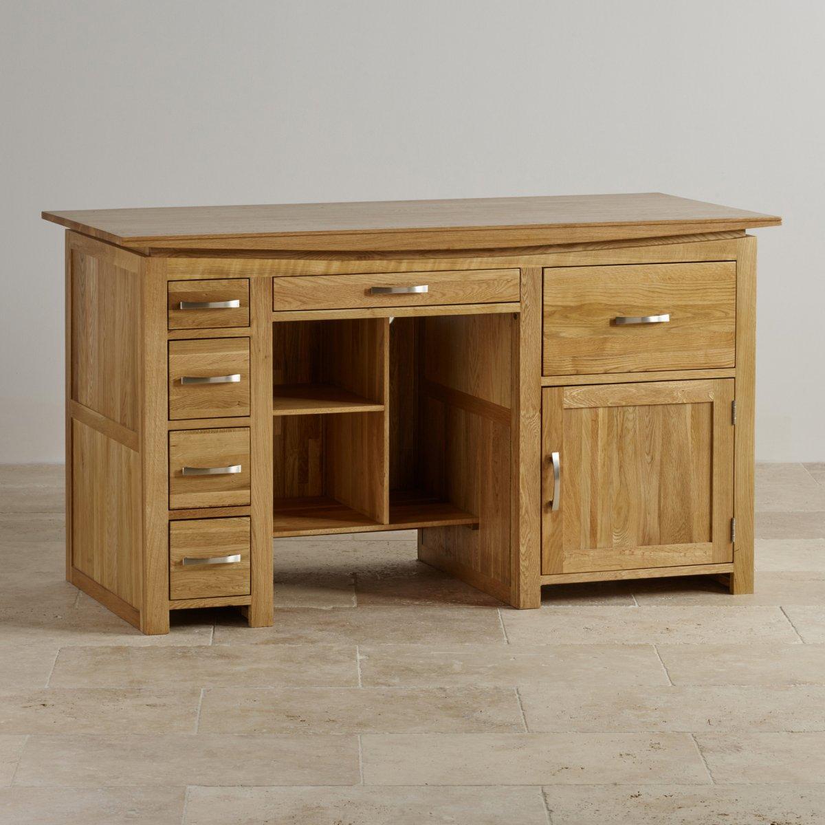 Tokyo Large Computer Desk In Solid Oak Oak Furniture Land
