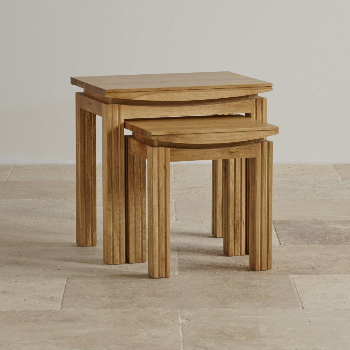 tokyo nest of 2 tables in natural solid oak. Black Bedroom Furniture Sets. Home Design Ideas