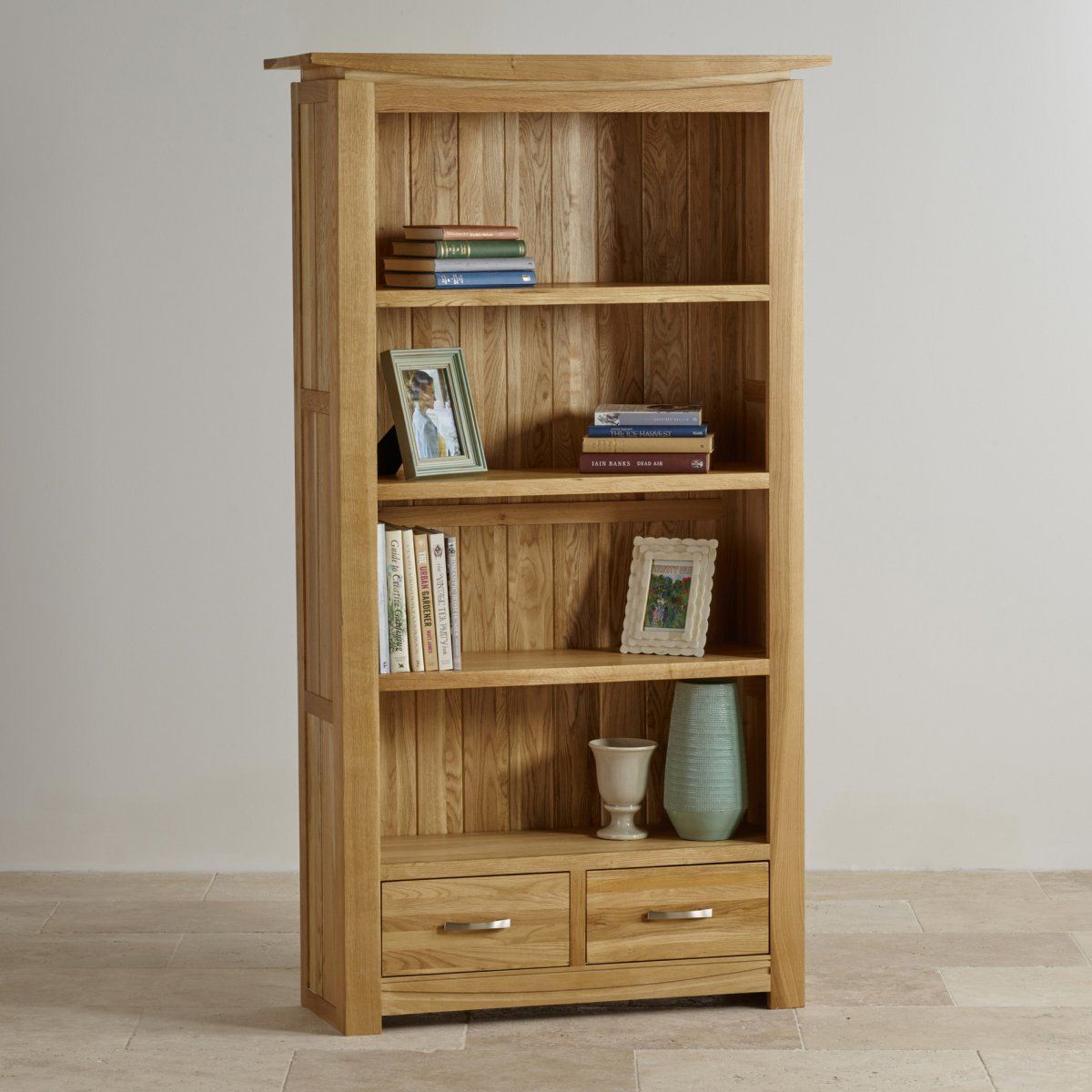 Living Room With Bookshelf: Tokyo Natural Solid Oak Bookcase