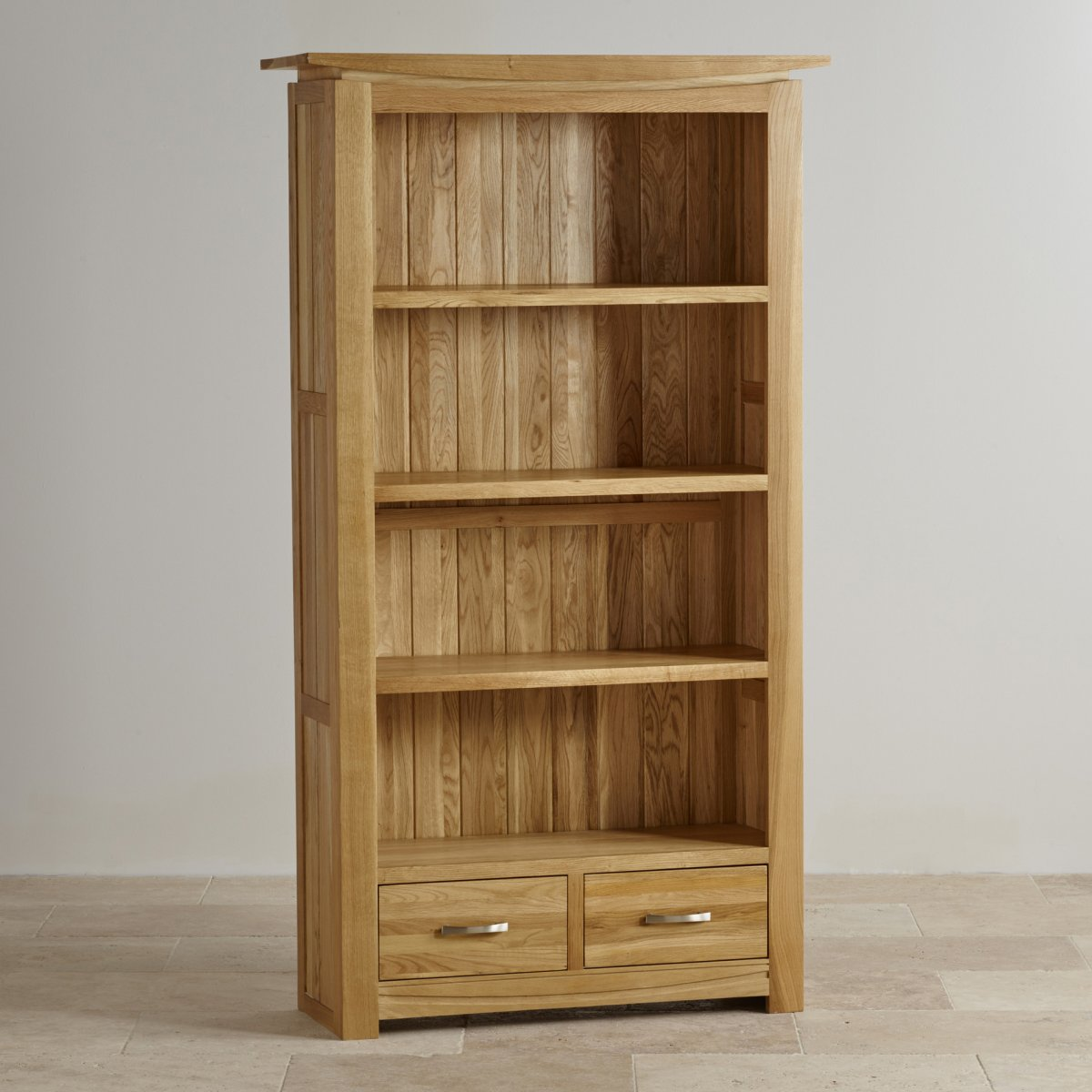 Tokyo natural solid oak bookcase living room furniture for Solid oak furniture
