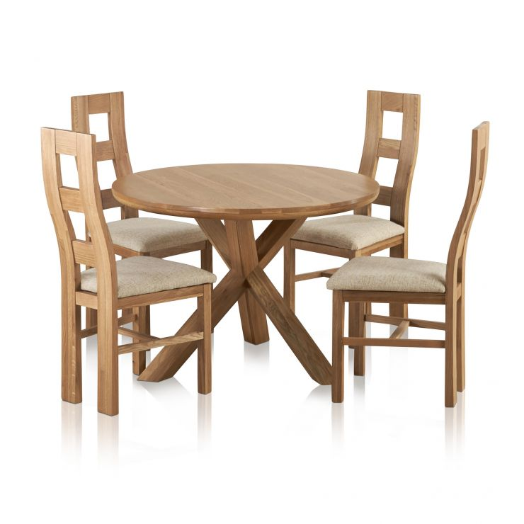 3ft Table With 4 Beige Chairs: Trinity Round Dining Table + 4 Beige Fabric Chairs