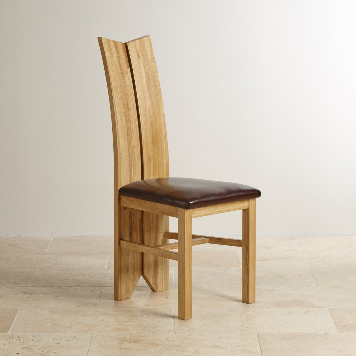 Tulip Natural Solid Oak Dining Chair Brown Leather