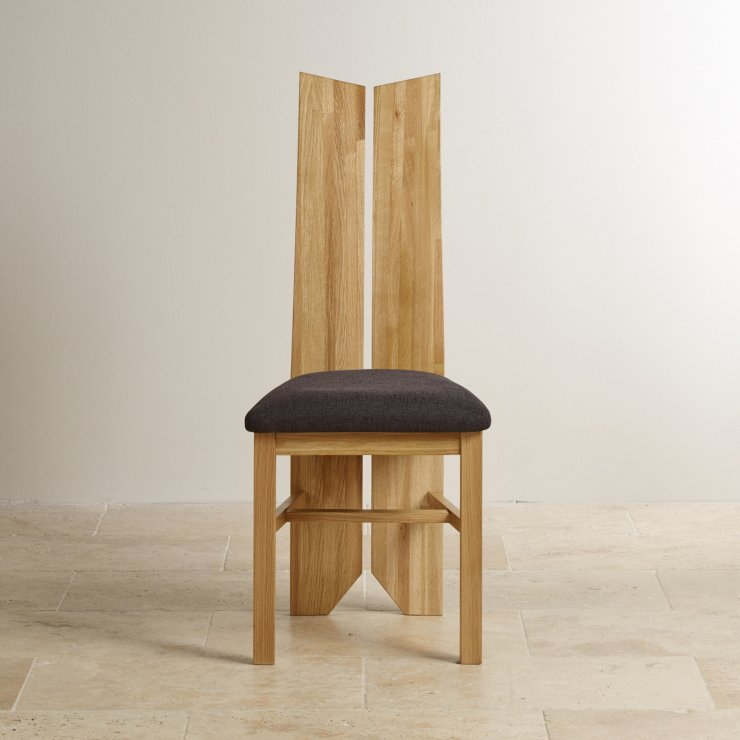 Tulip Natural Solid Oak and Plain Black Fabric Dining Chair