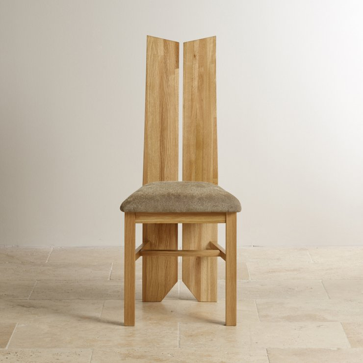 Tulip Natural Solid Oak and Plain Sage Fabric Dining Chair