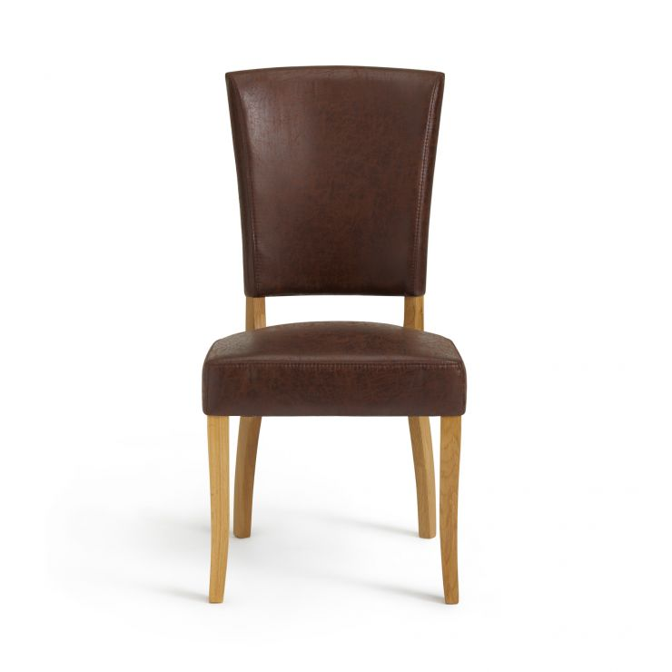 Small Back Dining Chair Modern Brown Suede Fabric With