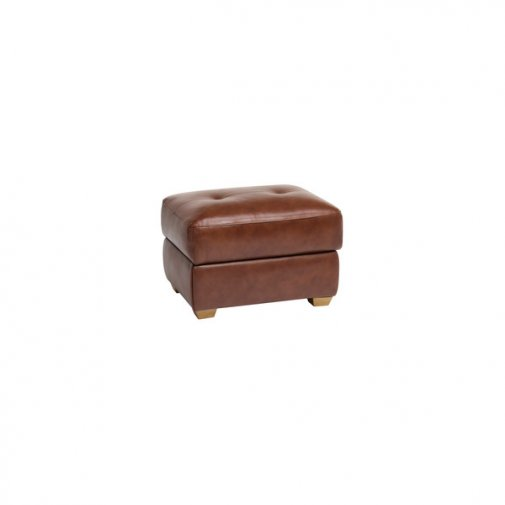 Verona Storage Footstool - Tan Leather