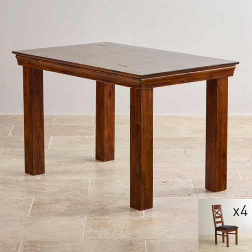 "Victoria Solid Hardwood 4ft x 2ft 6"" Dining Table with 4 Black Victoria Chairs"