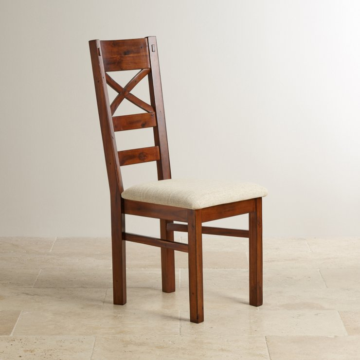 Victoria Solid Hardwood and Plain Beige Fabric Dining Chair
