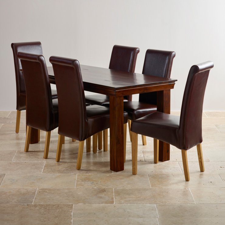 Victoria Extending Dining Set in Acacia Table 6 Leather  : victoria solid hardwood dining set 5ft table with 6 scroll back brown leather chairs 55d20adbec4154beb6dbea8d8ceeec2ba9d832dba96d9 from www.oakfurnitureland.co.uk size 740 x 740 jpeg 70kB