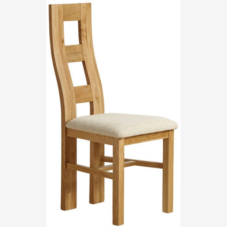 Wave Back Natural Solid Oak And Plain Beige Fabric Dining Chair   Image 1  Express Delivery