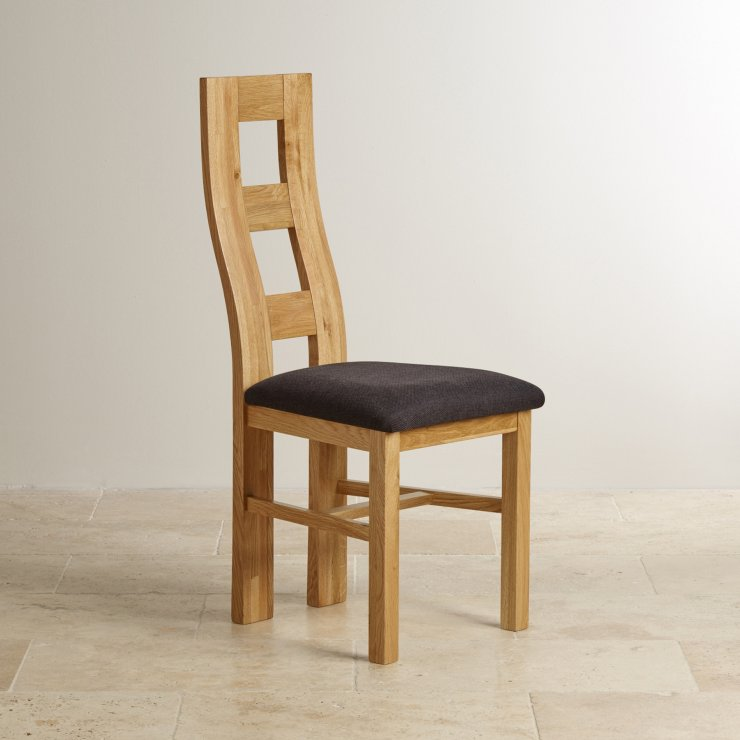 Wave Back Natural Solid Oak and Plain Black Fabric Dining Chair