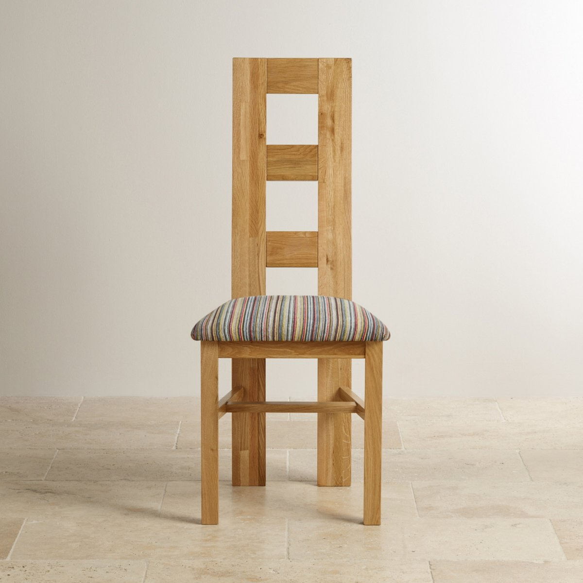Wave back dining chair in solid oak multi striped fabric for Multi coloured fabric dining chairs