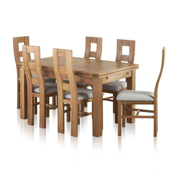 Dorset Natural Solid Oak Dining Set - 4ft 7 Extending Table with 6 Wave Back and Grey Fabric Chairs