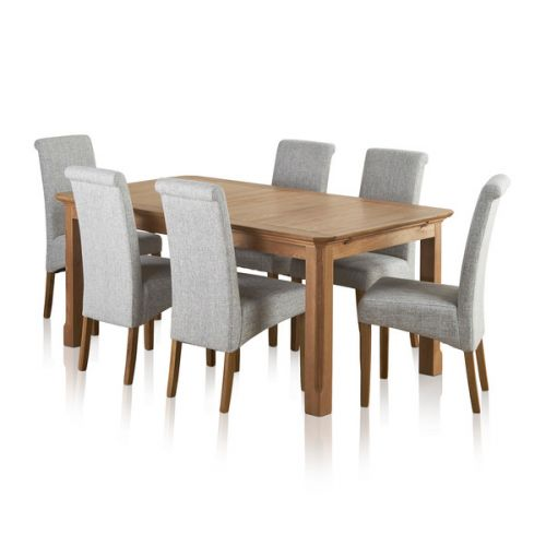 Edinburgh Extending Dining Set In Oak Dining Table 6 Chairs: Knightsbridge Oak Dining Set