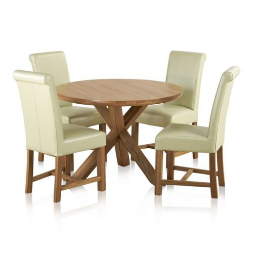 Provence Natural Solid Oak Dining Set: Round Pedestal Table In Rustic Oak