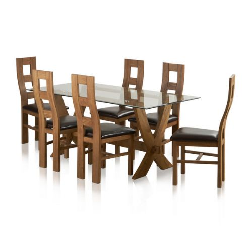 Reflection Glass Dining Table In Rustic Oak And 6 Chairs