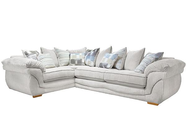 Annabella Left Hand Pillow Back Corner Sofa in Orlando Fabric  Silver