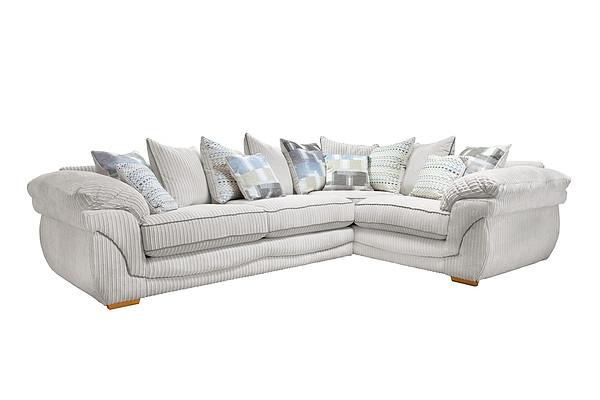 Annabella Right Hand Pillow Back Corner Sofa in Orlando Fabric  Silver