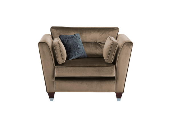 Cordelia Love Seat in Divine Fabric - Mist with Charcoal Scatter