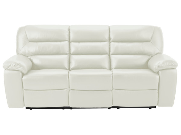 Devon Large Manual Sofa with 2 Recliners  Off White Leather