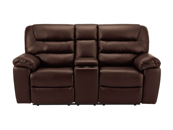Devon Medium Electric Reclining Sofa with Centre Table  2 Tone Brown Leather