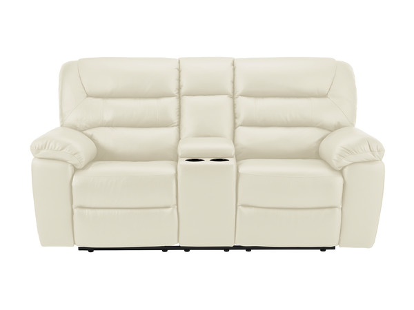 Devon Medium Electric Reclining Sofa with Centre Table  Cream Leather