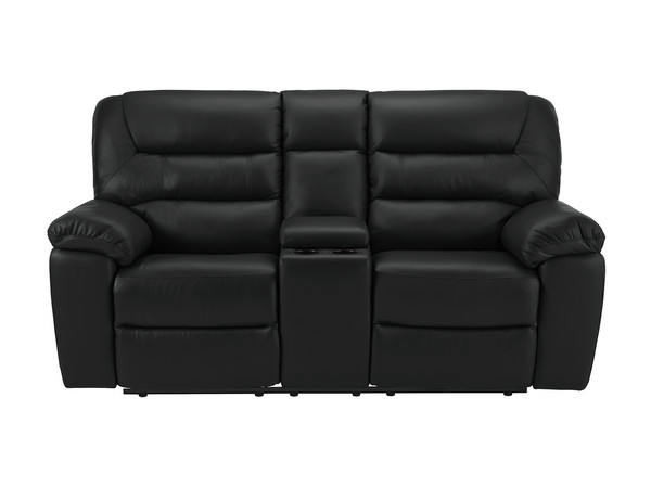 Devon Medium Manual Reclining Sofa with Centre Table  Black Leather