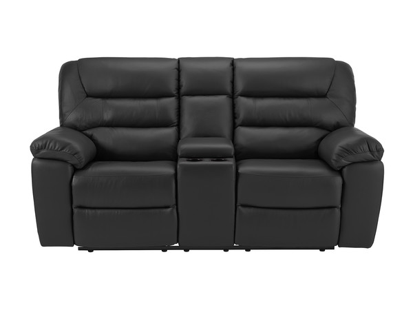 Devon Medium Manual Reclining Sofa with Centre Table  Brown Leather
