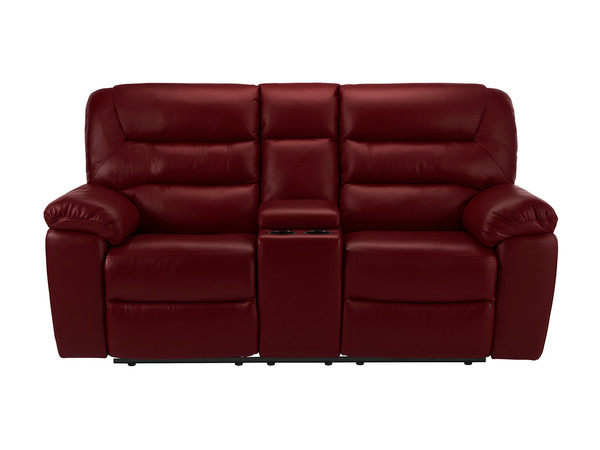 Devon Medium Manual Reclining Sofa with Centre Table  Burgundy Leather