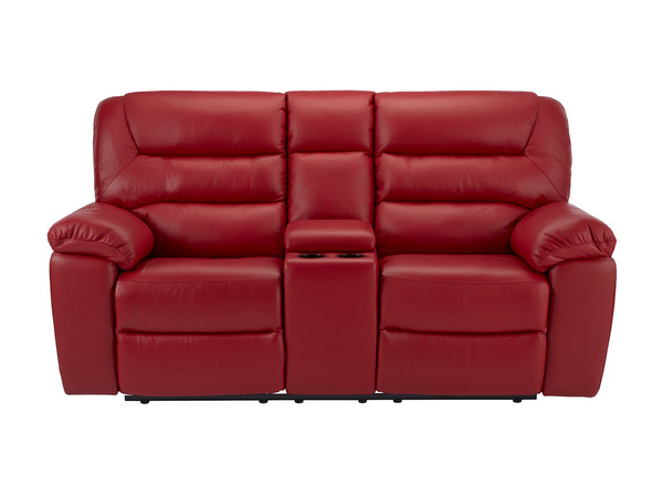 Devon Medium Manual Reclining Sofa with Centre Table  Cherry Leather