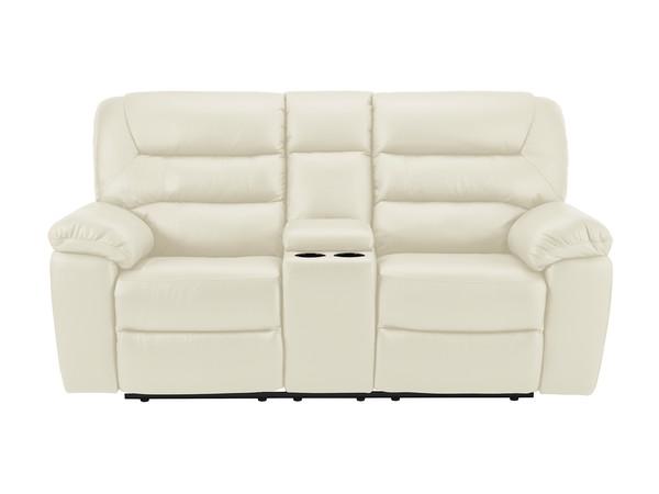 Devon Medium Manual Reclining Sofa with Centre Table  Cream Leather