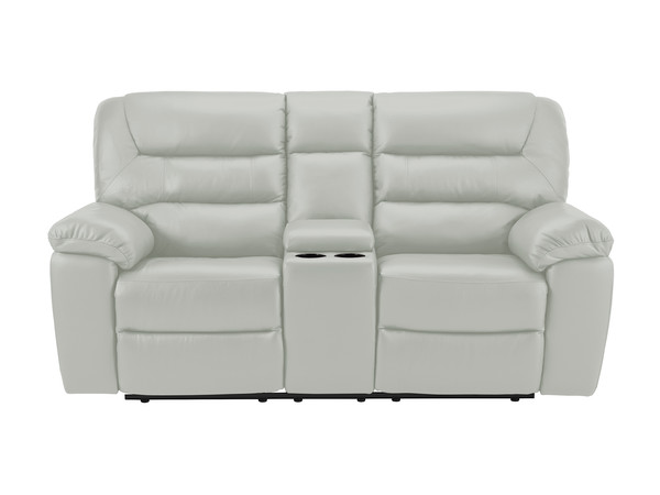 Devon Medium Manual Reclining Sofa with Centre Table  Grey Leather