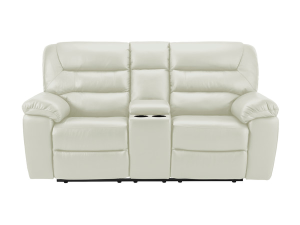 Devon Medium Manual Reclining Sofa with Centre Table  Light Grey Leather