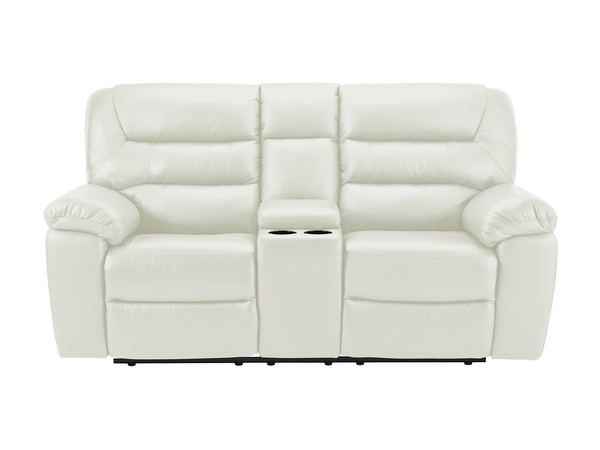 Devon Medium Manual Reclining Sofa with Centre Table  Off White Leather