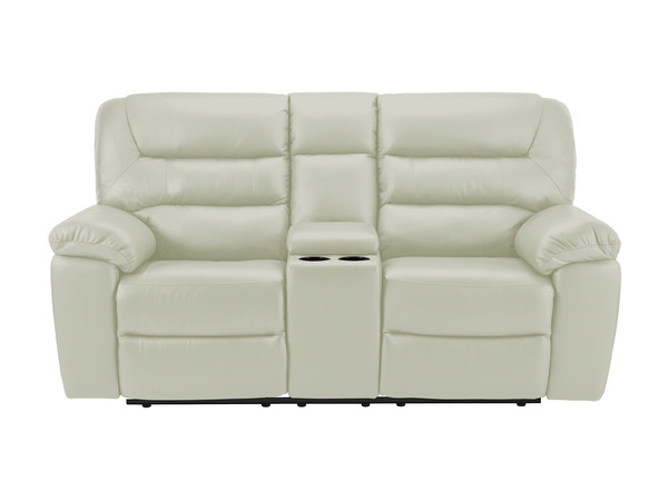 Devon Medium Manual Reclining Sofa with Centre Table  Putty Leather