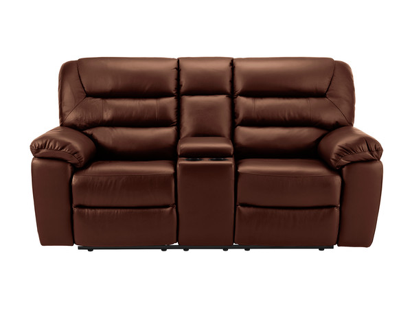 Devon Medium Manual Reclining Sofa with Centre Table  Tan Leather