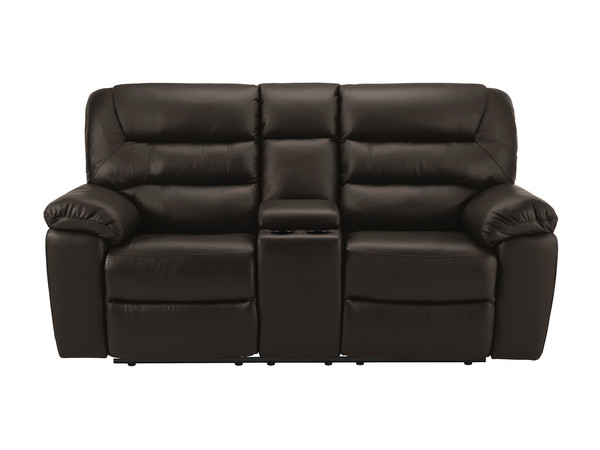 Devon Medium Manual Reclining Sofa with Centre Table  Walnut Leather