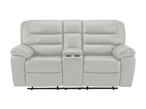 Devon Medium Electric Reclining Sofa with Centre Table  Grey Leather