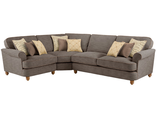Dina Large Corner Sofa Left Hand Facing  Canterbury Chocolate with Brown Scatters