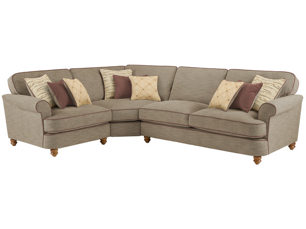 Dina Large Corner Sofa Left Hand Facing  Canterbury Coffee with Brown Scatters