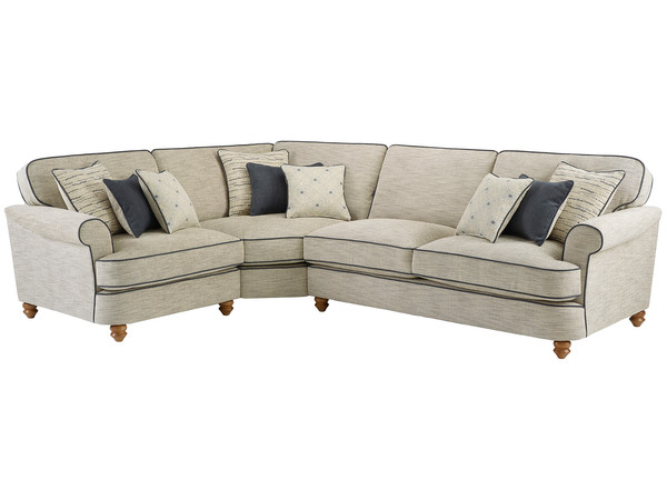 Dina Large Corner Sofa Left Hand Facing  Canterbury Natural with Grey Scatters