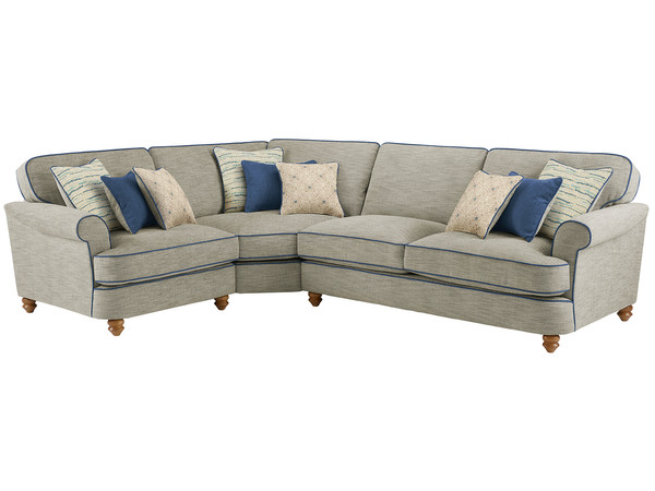 Dina Large Corner Sofa Left Hand Facing  Canterbury Teal with Blue Scatters