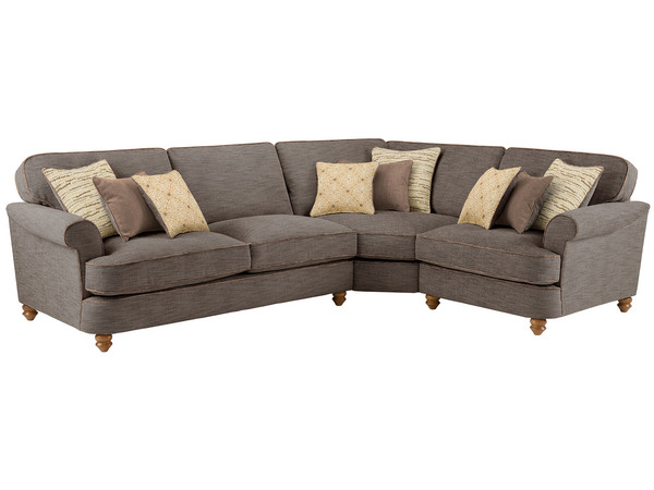 Dina Large Corner Sofa Right Hand Facing  Canterbury Chocolate with Brown Scatters