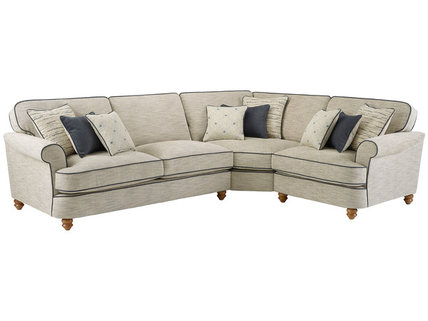 Dina Large Corner Sofa Right Hand Facing  Canterbury Natural with Grey Scatters