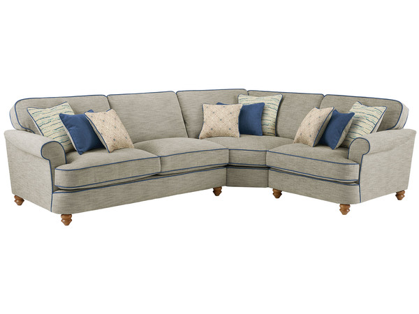 Dina Large Corner Sofa Right Hand Facing  Canterbury Teal with Blue Scatters